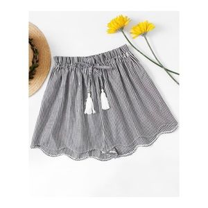 Plus Striped Shorts with Scallop Hem